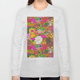60's Groovy Garden in Neon Peach Coral Long Sleeve T-shirt