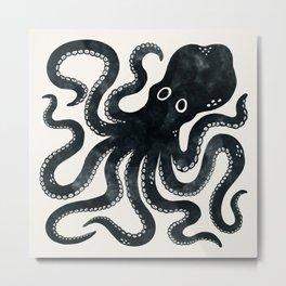 Minoan Octopus - Black Ink Metal Print