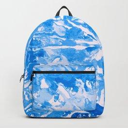 Blue Cobalt Aqua Tie-Dye Colored Pattern Design // Hand Painted Mandala Multi Media Abstract Backpack