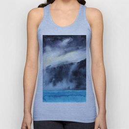 Watercolor blue sea on a background of thunderclouds Unisex Tank Top