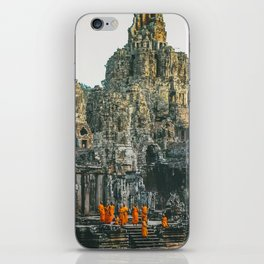 Unidentified Buddist monks from Thailand at one of the temple of Bayon Temple .Buddhism is currently iPhone Skin