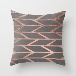 Rose gold chevron stripes geometric pattern on grey cement concrete Throw Pillow