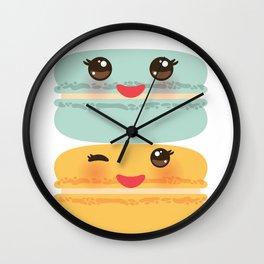 Kawaii macaroon funny orange blue lilac cookie with pink cheeks with pink cheeks and big eyes Wall Clock