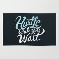 hustle Area & Throw Rugs featuring Hustle While You Wait by Chris Piascik