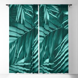 Palm Leaves Pattern, Green Floral Design Blackout Curtain