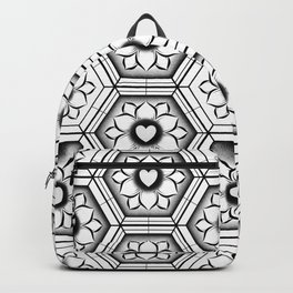 Hearts with floral and hexagonal geometric pattern Backpack