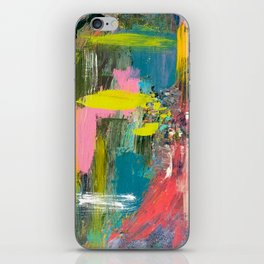 Collision - a bright abstract with pinks, greens, blues, and yellow iPhone Skin