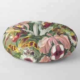 Victorian Orchids Floral Print-Ernst Haeckel Floor Pillow