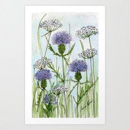 Thistle White Lace Watercolor Art Print