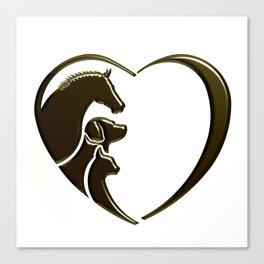 Horse, Dog, Cat Animal Lover Canvas Print