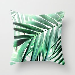 Tropical green leaves design Throw Pillow