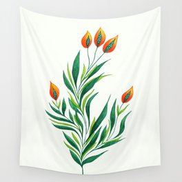 Abstract Green Plant With Orange Buds Wall Tapestry