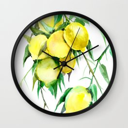 Lemon Tree. lemons kitchen design decor Wall Clock
