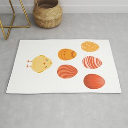 A cute chick and eggs Rug
