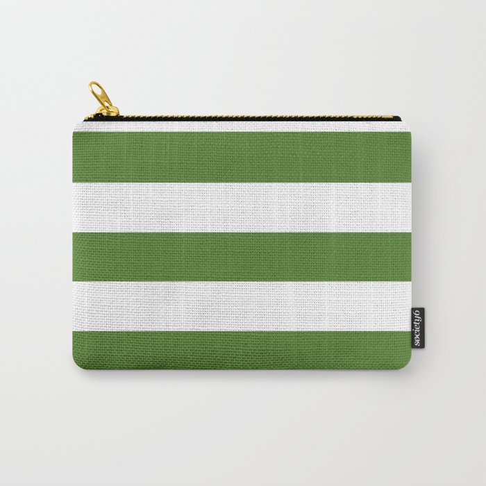 Sap green - solid color - white stripes pattern Carry-All Pouch