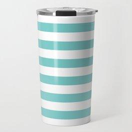 Horizontal Aqua Stripes Travel Mug