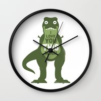 trex Wall Clocks featuring Amourosaurus by David Olenick