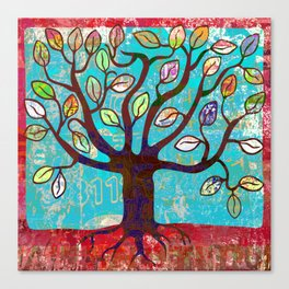 Tree of life, naive art red and turquoise woodland print Canvas Print