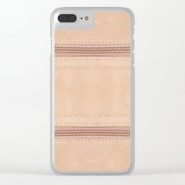 Beige zipper on leather cloth texture Clear iPhone Case