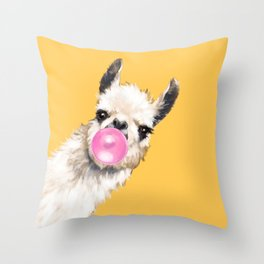 Bubble Gum Sneaky Llama in Yellow Throw Pillow