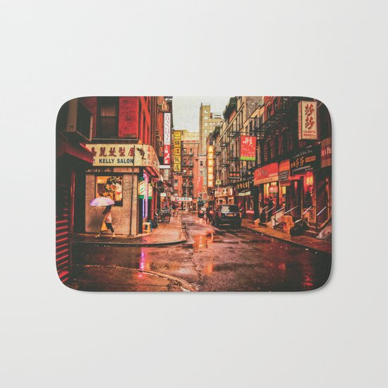New York City Rain in Chinatown Bath Mat