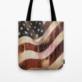 AMERICAN FLAG WOODEN Tote Bag