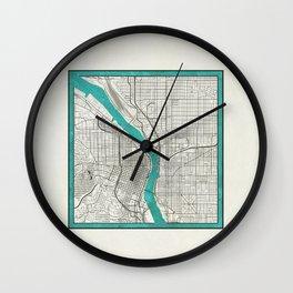Portland Metallic Inlay Map Wall Clock