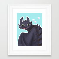 toothless Framed Art Prints featuring Toothless by enerjax