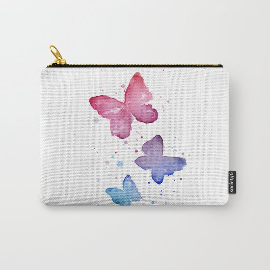 Butterflies Watercolor Abstract Splatters Carry-All Pouch
