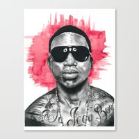 gucci Canvas Prints featuring Gucci Mane by Nicola MacNeil