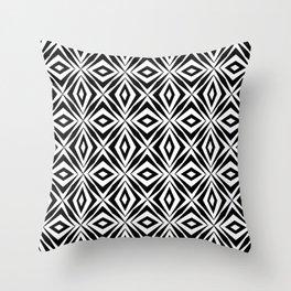 black and white symetric pattern 2- bw, mandala,geometric,rosace,harmony,star,symmetry Throw Pillow