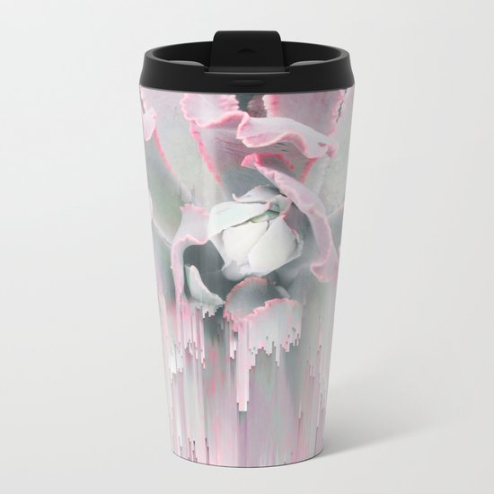 Sweet Pink Succulent Glitches Metal Travel Mug