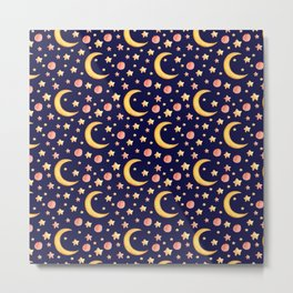 Cute watercolor seamless pattern with stars and moon on dark-blue background Metal Print