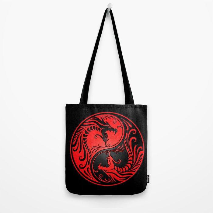 Yin Yang Dragons Red and Black Tote Bag
