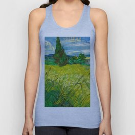 Green Wheat Field with Cypress Painting by Vincent van Gogh Unisex Tank Top