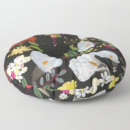 Pomegranate and lily and colorful flowers pattern black background #artprint Floor Pillow