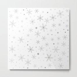 Twinkle Snowflake -Silver Grey & White- Metal Print