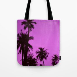 Tropical palm trees on blue pink Tote Bag