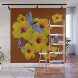 COFFEE BROWN BLUE DRAGONFLIES YELLOW HIBISCUS Wall Mural