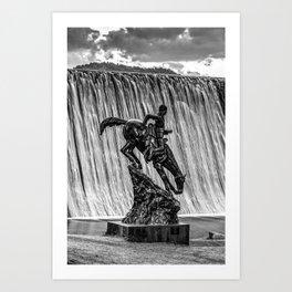 Mountain Man and Evergreen Colorado Lake Dam Waterfall in Black and White Art Print