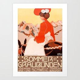 1905 Summer In Grisons Switzerland Travel Poster Art Print
