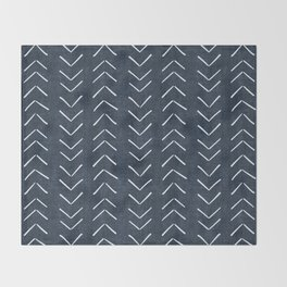 Mud Cloth Big Arrows in Navy Throw Blanket