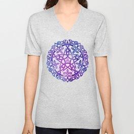 Mystic Purple Celtic Pentacle Pentagram Unisex V-Neck