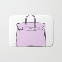 Lilac / Lavender Birkin Vibes High Fashion Purse Illustration Bath Mat