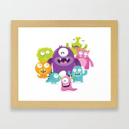 Happy Silly Cute Monsters Bunch Framed Art Print