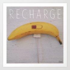Recharge Banana Art Print