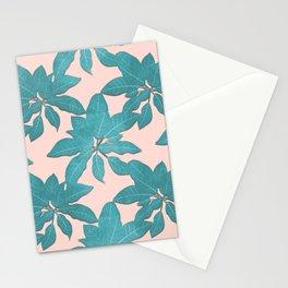 Elegant tropical Teal leaves Pink design Stationery Cards