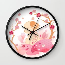 Sweet minimalist dog sakura Wall Clock