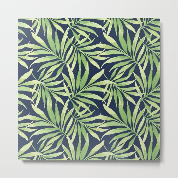 Tropical Branches on Dark Pattern 10 Metal Print