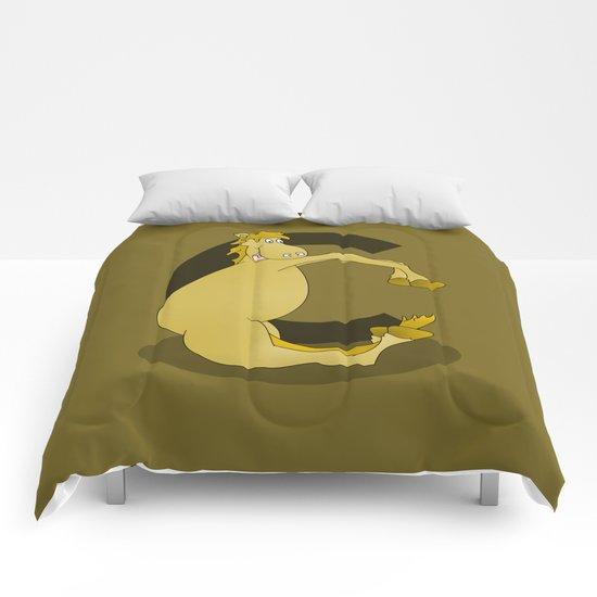 Pony Monogram Letter C Comforters